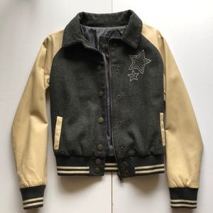 jessica simpson leather varsity jacket kids medium